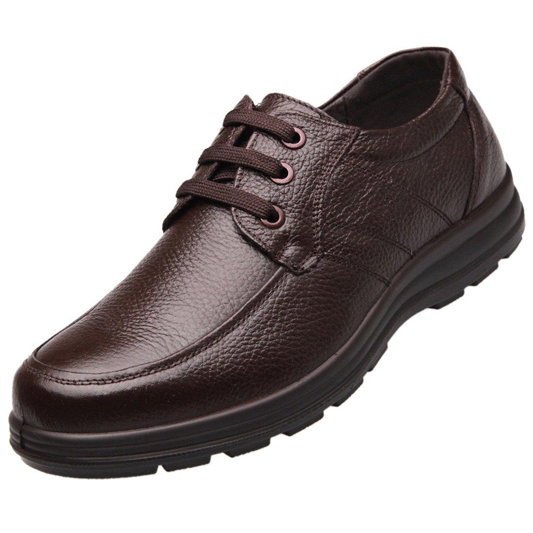 Enerhu Men Lace-up Chef Shoe Leather Flat Work Shoe Nonslip Oil Resistant Waterproof Brown Asian 41/US 8