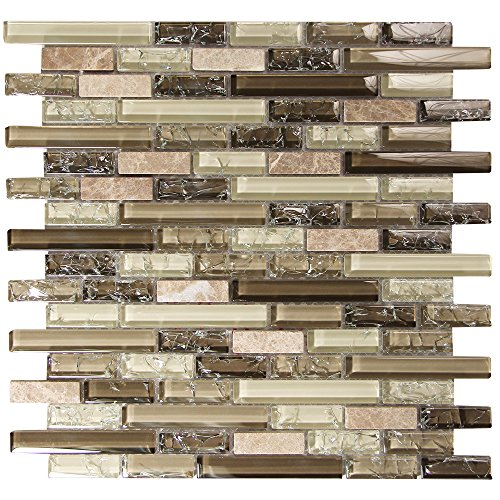 Brown and Beige Linear Glass Tile With Natural Stone - Selene 2 - For Kitchen Backsplash, Showers, Walls, Fireplace Surrounds (4 x 6 Inch Sample) Stone Tile Fireplace