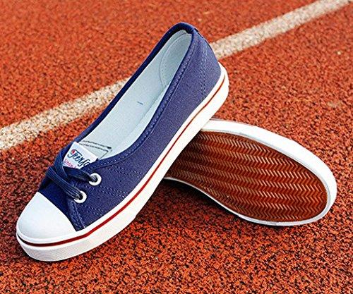 Tacón Zapatos Punta Lona Minetom Ocio Chicas Zapatos Azul Redonda Mujer Espadrilles oscuro Plano Moda w0qfPa4