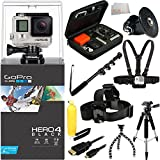"GoPro HERO4 Black Accessory Kit Includes: 48"" Monopod + 57"" Tripod + Floating Bobber Handle + Head Strap + Case + Gopro Adapter + Flexible Gripster Tripod + Micro HDMI Cable + Chest Mount + Microfiber Cleaning Cloth"