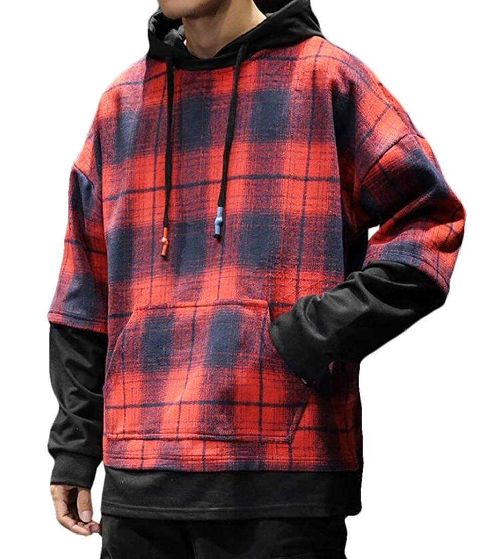 Frieed Mens Casual Plaid Check Pockets Drawstring Pullover Hoodie Sweatshirt