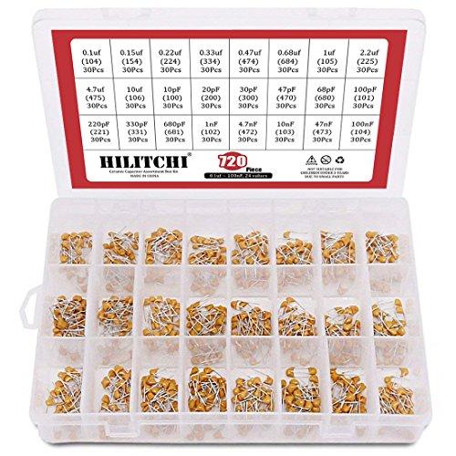 Hilitchi 720-Pcs [0.1uF-100nF] 24 Value DIP Monolithic Multilayer Ceramic Chip Capacitors Assortment Kit
