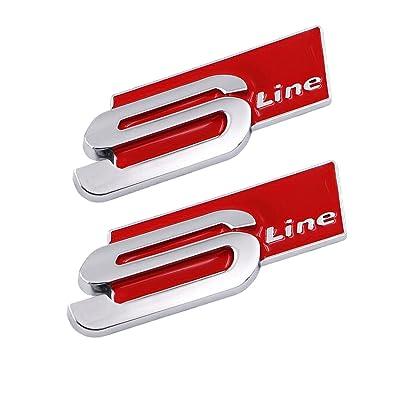 TK-KLZ 2Pcs 3D Metal S Line Car Side Fender Rear Trunk Emblem Badge Decals for ALL Model Audi S Line S3 S4 S5 S6 S7 S8 A1 A3 RS3 A4 A5 A6 A7 RS7 A8 Q3 Q5 Q7 R8 TT (Red): Automotive