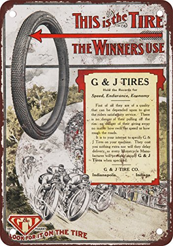 1909 G&J Tires Vintage Look Reproduction Metal Tin, used for sale  Delivered anywhere in USA