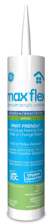 General Electric GE22764 Max Flex Window/Door/Trim Acrylic Urethane Caulk, 10.1-Ounce, White