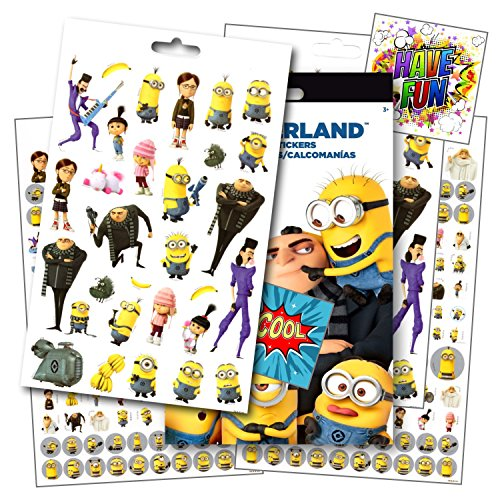 Despicable Me 3 Stickers - Over 295 Stickers Featuring Minions & Favorite Despicable Me 3 Characters ~ Bundled with 2 Specialty Separately Licensed GWW Reward (Minion Stickers)