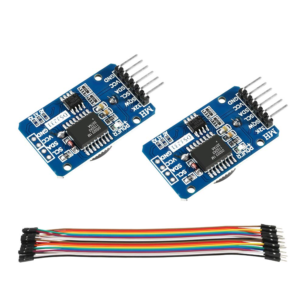 DS3231 AT24C32 IIC RTC Module Clock Timer Memory Module Beats Replace DS1307 I2C RTC Board Compatible with Arduino(Batteries not Included) + 20 PCS Male to Female Jumper Wire Cable