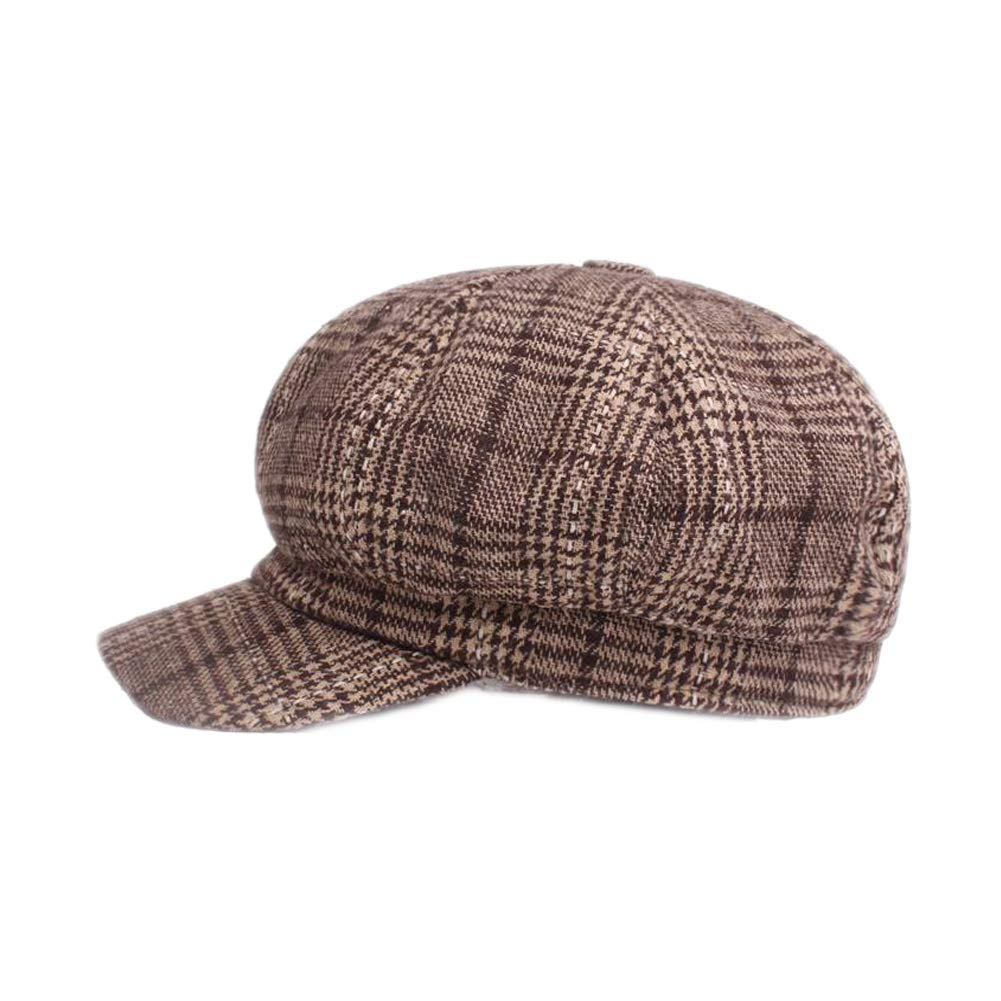 U2BUY Plaid Print Newsboy Cap Men Womens Retro Warm Visor Cabbie ... 1791f55e596a