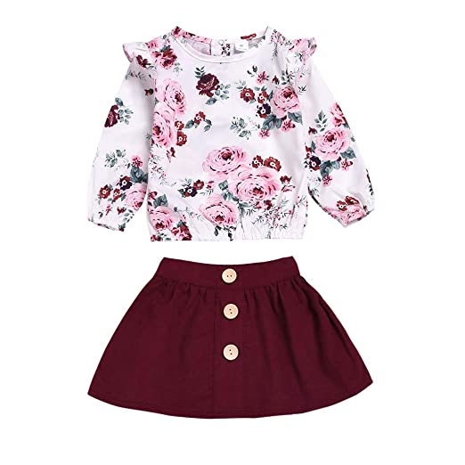 150cc7bd3 Amazon.com: Toddler Kids Baby Girls 2Pcs Outfits Clothes, Long Sleeve  Floral T-Shirt Tops+Short Skirt Dress Set: Clothing