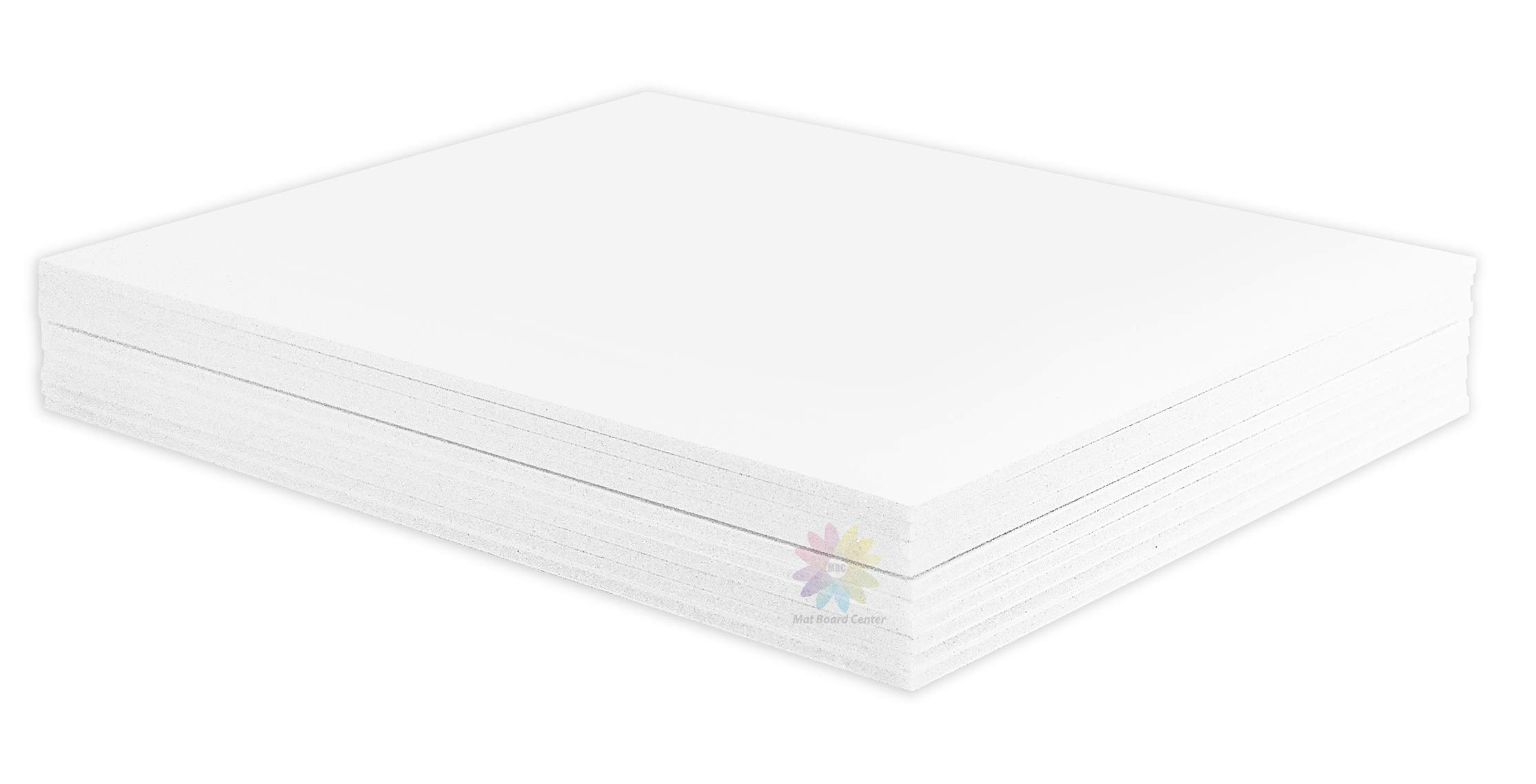 Mat Board Center, Pack of 10 11x14 1/8'' White Foam Core Backing Boards