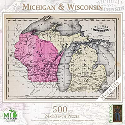 "Michigan & Wisconsin - 500 Piece MI Puzzles Jigsaw Puzzle - 24"" x 18"" Interlocking - Made in USA: Toys & Games"