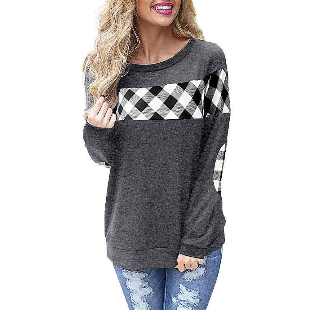 AMOUSTORE Women's Color Block Plaid Hooded Crew Neck Elbow Patches Pullover Sweatshirt Top Gray by AMOUSTORE