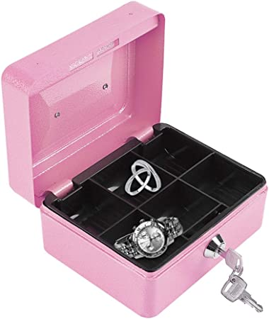 Eboxer Mini Caja de Seguridad de Almacenamiento Portátil de Acero Inoxidable con Cerradura de Llave para Almacenar Dinero/Moneda / Joyería, etc.(Rosa): Amazon.es: Hogar
