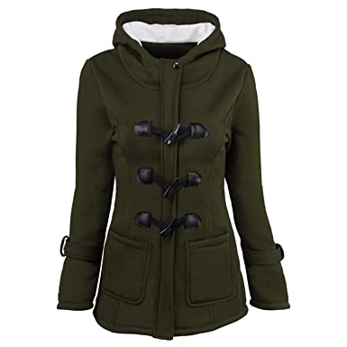 Ngyeyu Horn Button Jacket Coat Winter Autumn Women Slim Plus ...
