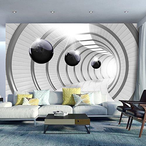 Vlies Fototapete 400x280 cm ! Top - Tapete - Wandbilder XXL - Wandbild - Bild - Fototapeten - Tapeten - Wandtapete - Wand - Abstrakt Tunnel Kugel 3D schwarz-weiß a-C-0001-a-a