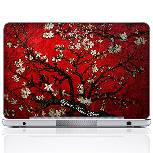 Meffort Inc Personalized Laptop Notebook Notebook Skin Sticker Cover Art Decal, Customize Your Name (15.6 Inch, Van Gogh Cherry Blossoming)