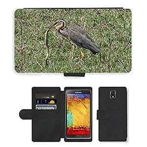 PU LEATHER case coque housse smartphone Flip bag Cover protection // M00130854 Garza imperial Ardea Purpurea Wader // Samsung Galaxy Note 3 III N9000 N9002 N9005