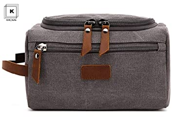 7a9f3a2f06a8 Amazon.com   Toiletry Bag for Men-Canvas Wash Bag Hanging Dopp Kit for  Travel