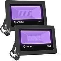 Onforu 2 Pack Luz UV 30W, Luz Negra Impermeable IP66, Foco UV Ultravioleta Luz Fluorescente Lámpara de Escenario…