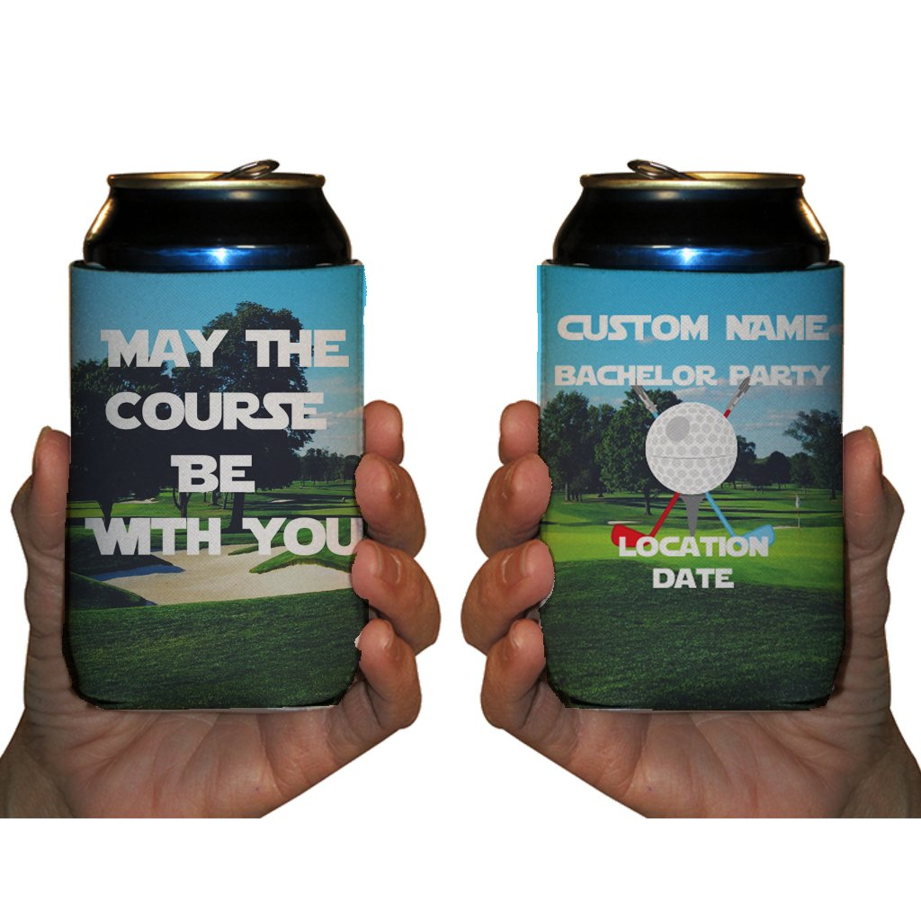 """VictoryStore Can and Beverage Coolers: Neoprene Customizable """"May The Course Be With You"""" Golfing Bachelor Can Coolers (50)"""