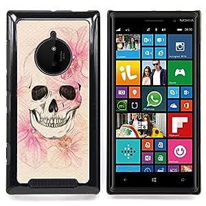 FOR Nokia Lumia 830 Queen Pattern - Skull Death Spring Meaning Deep Metal - Doble capa de armadura de la cubierta del caso del protector -