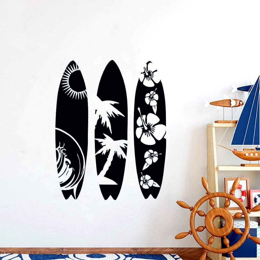 Fantxzcy T/üraufkleber mit 3D-Effekt Meer Strand Surfbrett 77x200cm 3D T/ür Aufkleber Wand Wandaufkleber Selbstklebende Kunst Leinwand Poster Druck Vinyl Home Decal Deco Art Decor