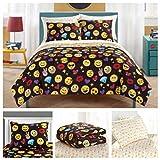 Emoji Girls Complete 7 Piece Reversible Bedding Comforter Set - Queen