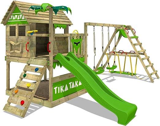 FATMOOSE Parque infantil de madera TikaTaka Town XXL con columpio ...