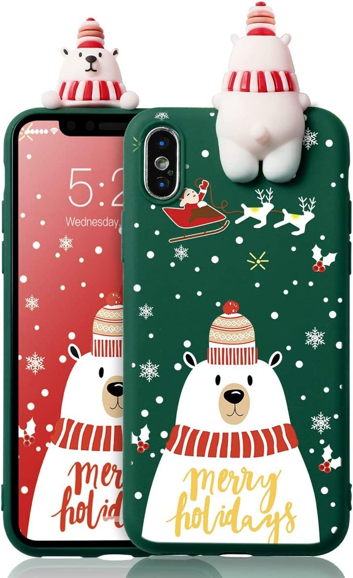 Eouine for iPhone 7 Plus Case, Phone Case Silicone 3D Doll Toy Christmas with Pattern Slim Shockproof Soft Gel Cute Cover Bumper Skin for iPhone 7 Plus / 8 Plus Smartphone (Polar Bear 3)