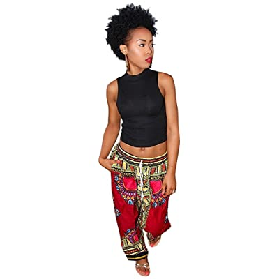 Aiphun Women Dashiki Boho Loose Drawstring Waist Trousers Flare Wide Leg Lounge Pants (Rose Red, L) at Amazon Women's Clothing store