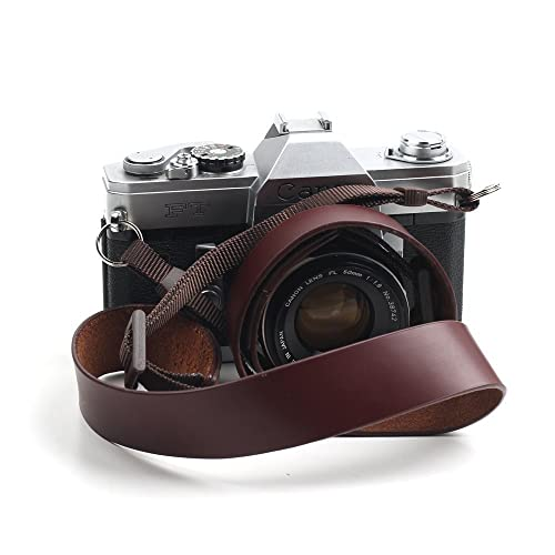 CANPIS Genuine Leather Handmade Camera Shoulder Neck Strap for Nikon Canon Sony Pentax Leica Olympus Fuji