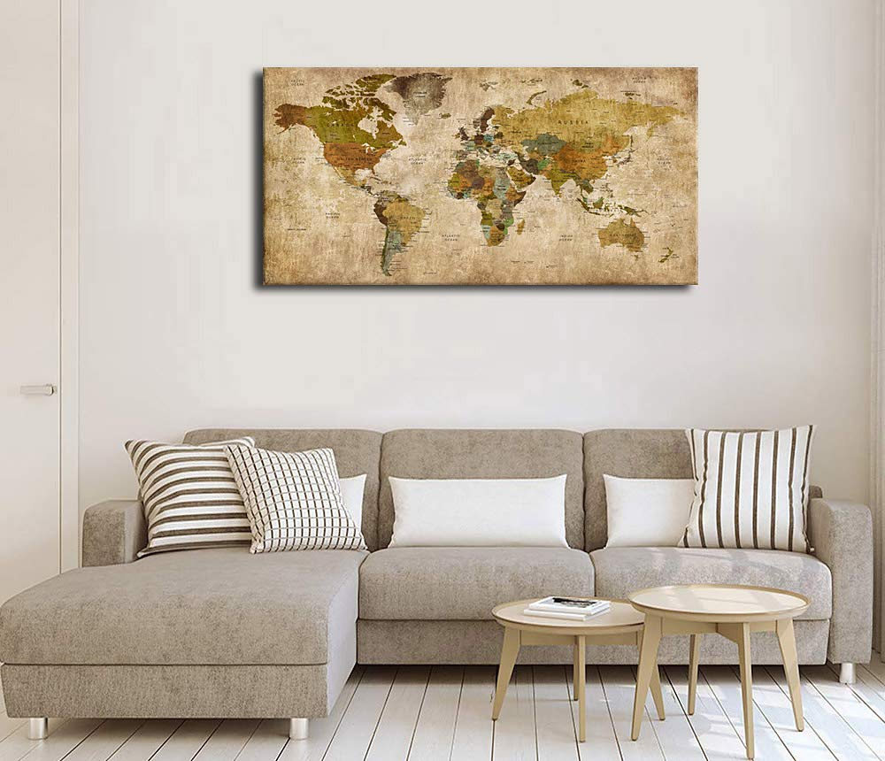 Canvas Wall Art Antique World Map Painting Picture Vintage Map of The World Canvas Artwork Prints for Office Wall Decor Home Living Room Decorations Framed Ready to Hang 20 x 40 yearainn 1H5010