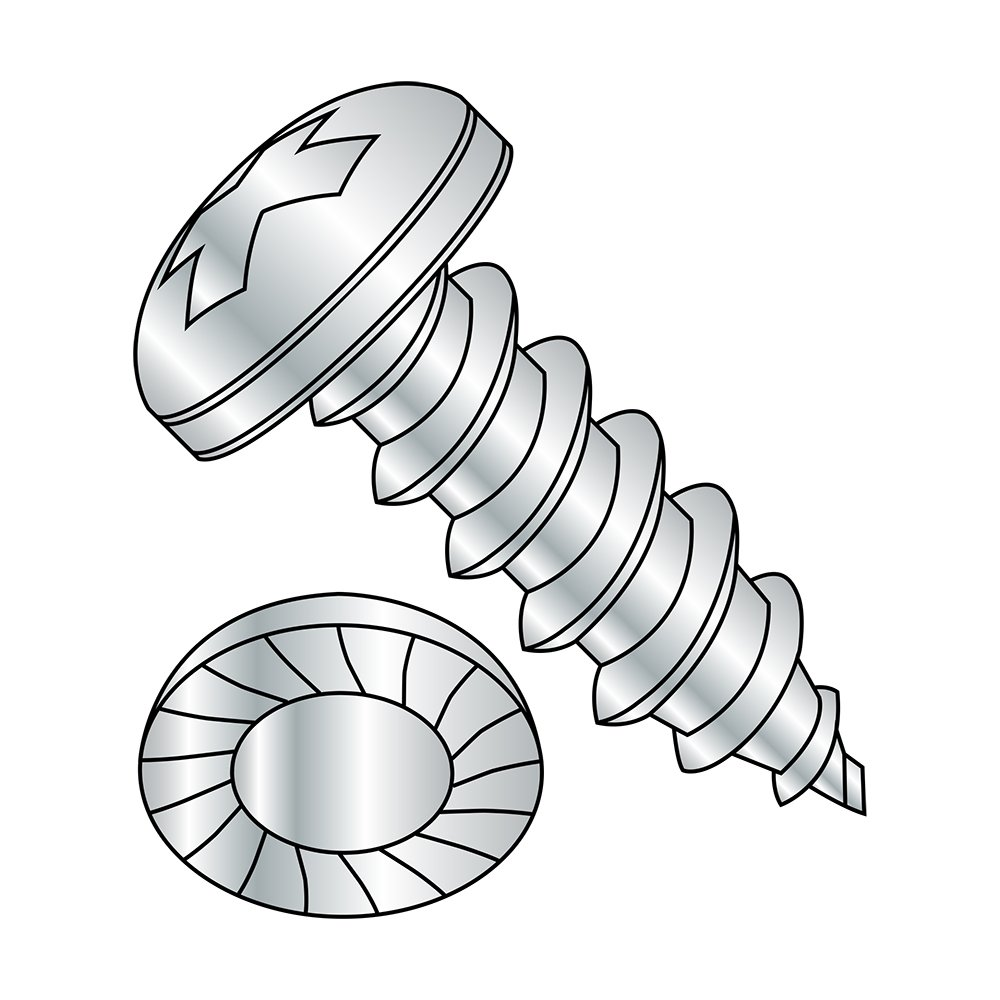 #8-18 Thread Size Serrated Pan Head 3//8 Length Type AB Phillips Drive Pack of 100 Steel Sheet Metal Screw Zinc Plated
