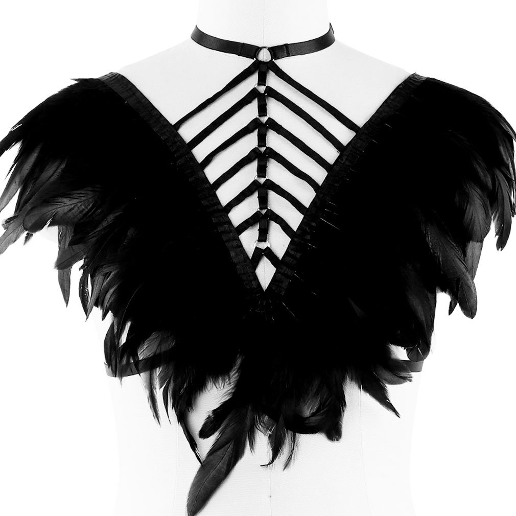 Feather Harness Caged Bralette Epaulette Wings Body Crop Top Plus Size Goth Fetish Art Clothing PETM•HS-O02·33-JF