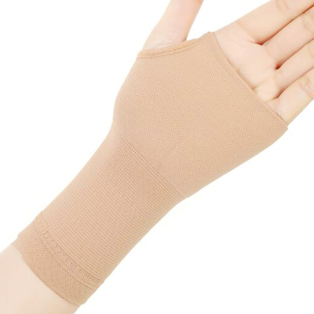 Pevor Therapy Gloves Medical Stretch Bracers Elbow Wrist Scar Health Care Physiotherapy Rehabilitation Suitable for Men and Women Beige XL