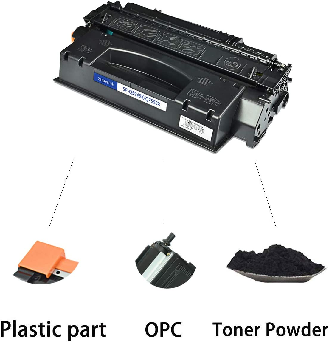 SuperInk High Yield Compatible Toner Cartridge Replacement for HP 53X Q7553X to use with Laserjet P2015 P2015d P2015dn P2015x M2727 M2727nf M2727nfs MFP Black, 2-Pack