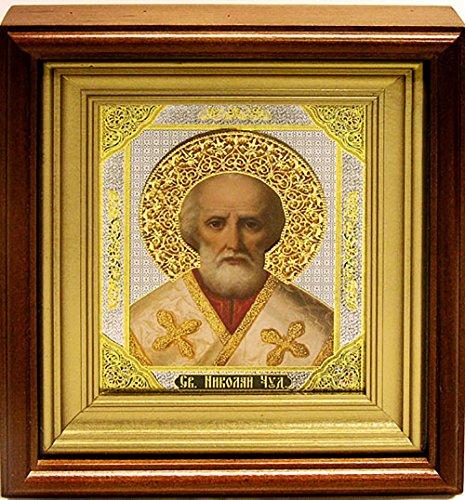 St Sanit Nicholas Icon Wood Framed Glass Icon 8 Inch