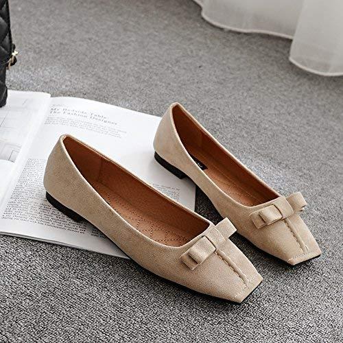 Eeayyygch Court Schuhe Quadratische Flache Schuhe Flache Pumps Damen Niedrige Ferse Wildleder Butterfly Schuhe, 37, Apricot (Farbe   -, Größe   -)