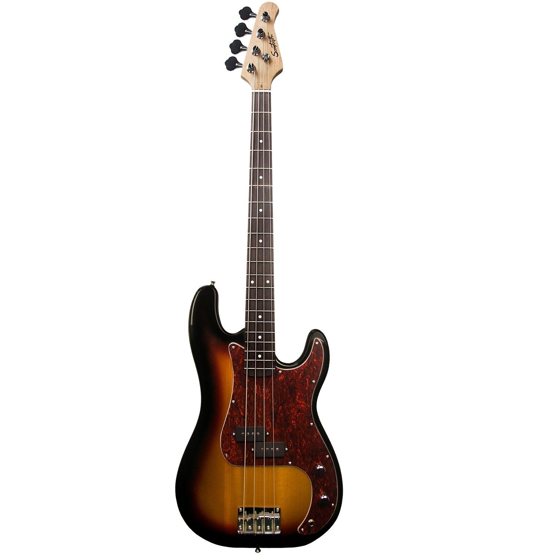 Sawtooth 4 String EP Series Electric Bass Guitar, Vintage Burst w/Tortoise Pickguard, Right Handed (ST-PB-VBT)