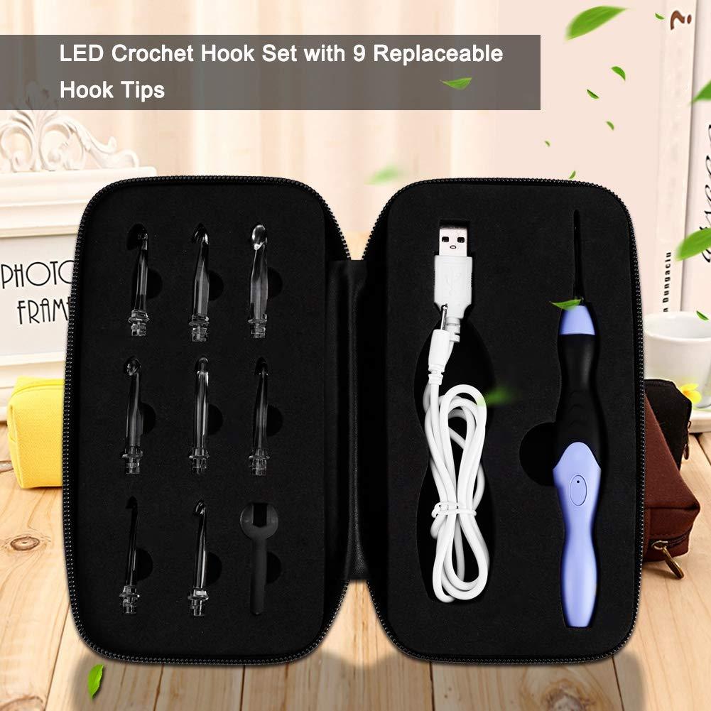2,5-6,5 mm Sheens Set di uncinetti 9 in 1 Uncinetto a LED Ricaricabile USB Illuminato con 9 Aghi sostituibili Teste Aghi per Maglia Maglione Tessuto