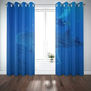 Capsceoll 52X 84 Inch 2 Panels Whale Man a Window Curtain Panels for Home Kitchen Bedroom,Girls and Boys Curtains