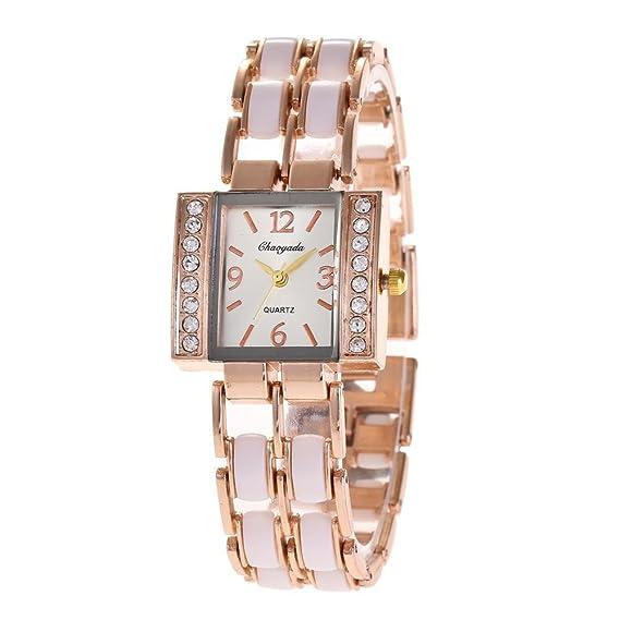YAZILIND cuarzo reloj de pulsera de las mujeres cuadradas de diamantes de imitación pulsera de acero