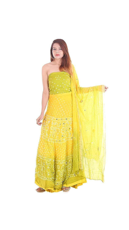 a29e19a0c02f1f Generic Women's Cotton Bandhani Bandhej Lehenga Choli Dupatta (Yellow, Free  Size): Amazon.in: Clothing & Accessories