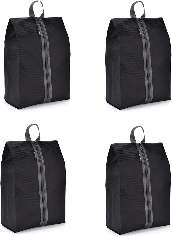 Leeko 4 Pack Travel Shoe Bag Blue Shoe Storage and Organization for Traveling Home Portable Waterproof Nylon Shoe Bag with Zipper Closure