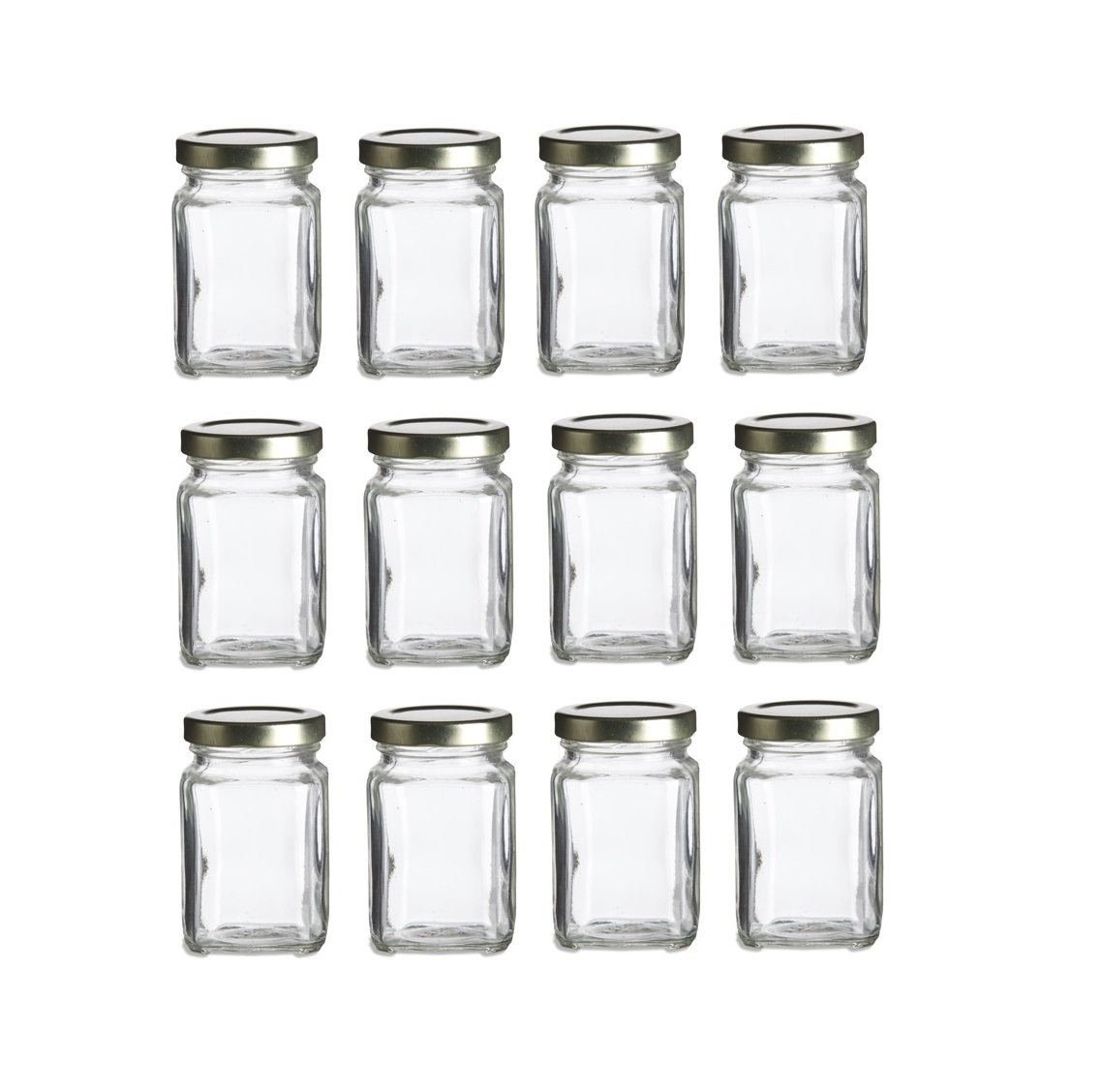Nakpunar 12 pcs, 3.75 oz Mini Square Glass Jars for Jam, Honey ...