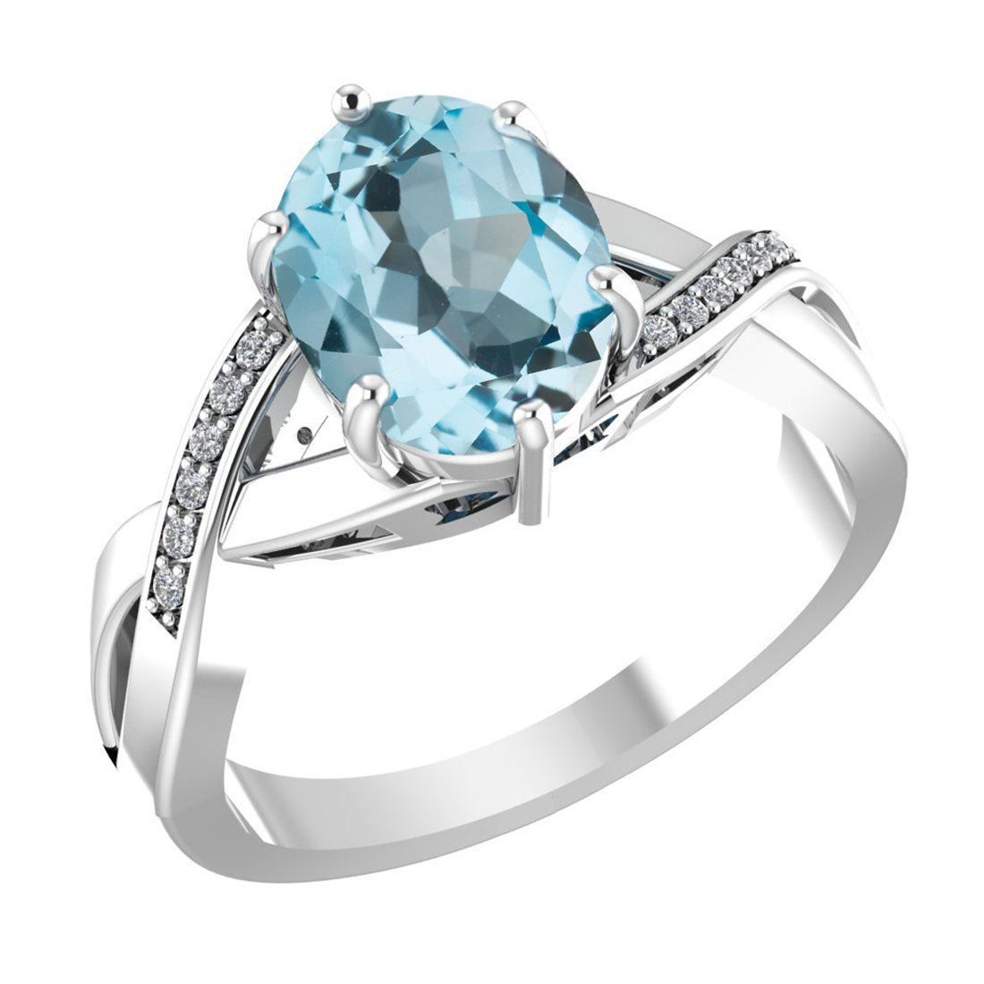 Belinda Jewelz 925 Solid Real Sterling Silver 8x10 mm Oval Gemstone Prong Setting Diamond Rhodium Plated Engagement Wedding Classic Womens Fine Jewelry Twisted Band Ring, Light Sky Blue Topaz, Size 9 by Belinda Jewelz (Image #1)