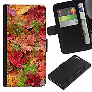 KingStore / Leather Etui en cuir / Apple Iphone 6 PLUS 5.5 / Lluvia en colores pastel colorido del otoño
