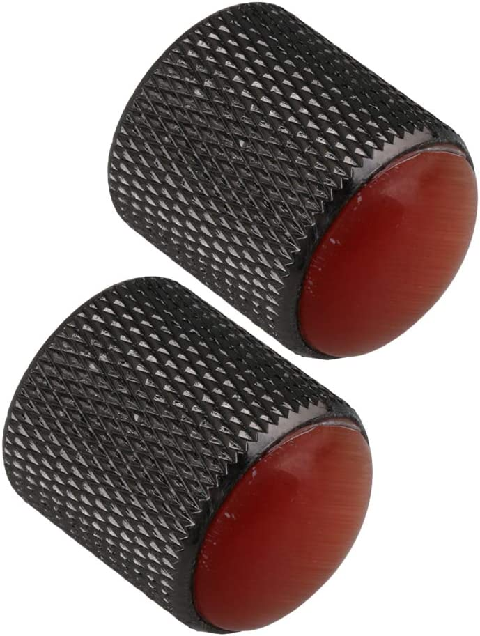 Yibuy Amber Gem Head Practical Electric Guitar Black Dome Knobs Pack of 3