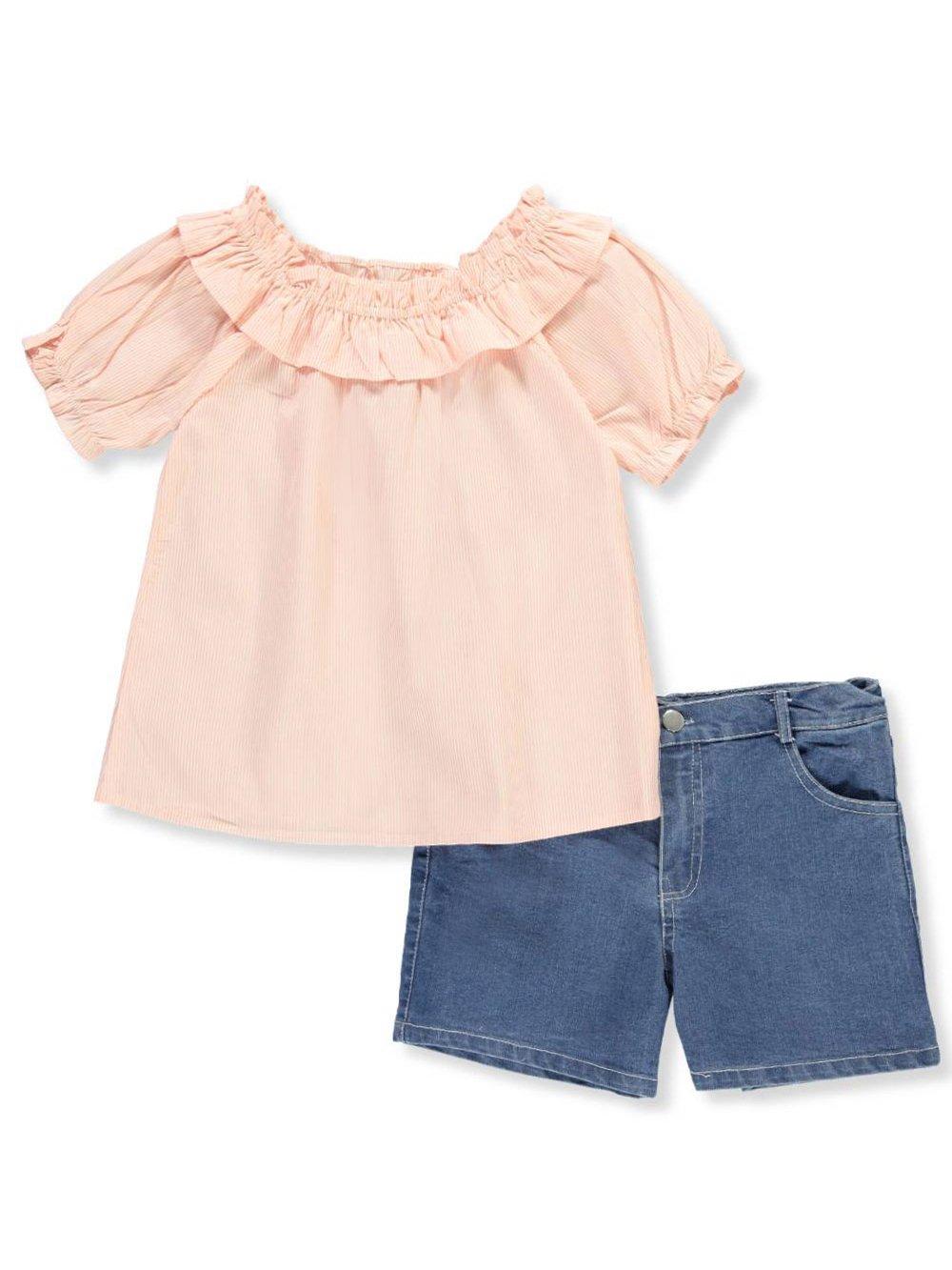 Girls Luv Pink Big Big Girls' 2-Piece Short Set Outfit - Peach Multi, 10-12