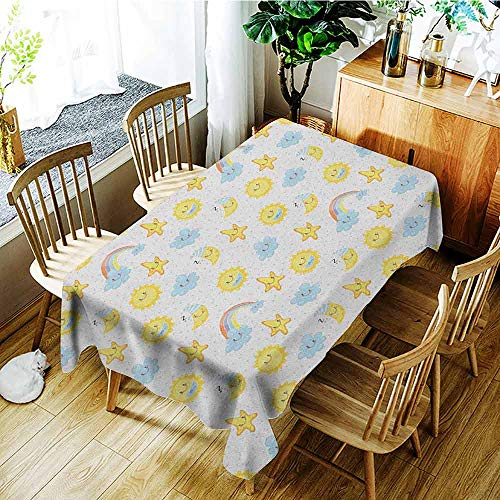 XXANS Small Rectangular Tablecloth,Kids,Happy Smiling Moon and Stars Good Morning and Night Rainbows Funny Clouds,Dinner Picnic Table Cloth Home Decoration,W60x120L Yellow Baby Blue Pink